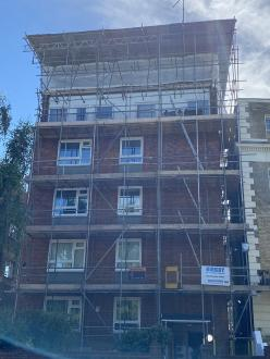 Scaffold erected to undertake new roofing works at Camden