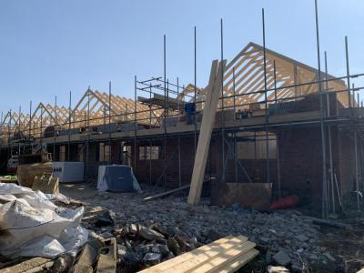 Roof trusses now in place on construction site at Smarden
