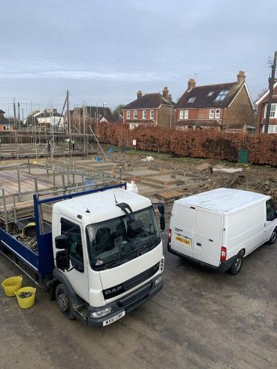 Progression of Construction Works of 8 New Terraced Houses at Burgess Hill, West Sussex