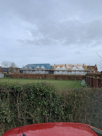 View of Construction Site of 8 New Terraced Houses at Burgess Hill, West Sussex