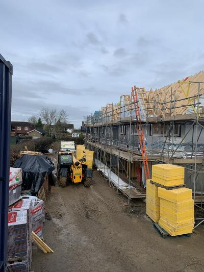 Roof Works Progressing on 8 New Terraced Houses at Burgess Hill, West Sussex