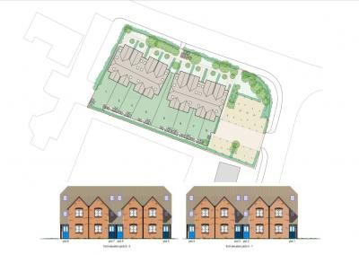 Site Location Plan of Construction of 8 New Terraced Houses at Burgess Hill, West Sussex