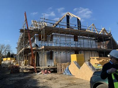Construction progressing on 8 New Terraced Houses at Burgess Hill, West Sussex