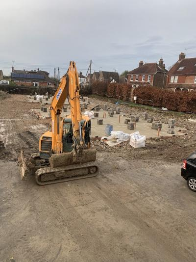 Progressing Works for Construction of 8 New Terraced Houses at Burgess Hill, West Sussex