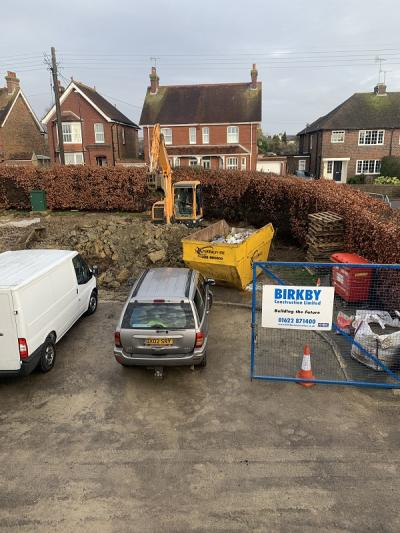 Further Ground Works Continuing for 8 New Terraced Houses at Burgess Hill, West Sussex